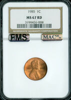 1985 LINCOLN CENT NGC MAC MS67 RED FMS PQ SPOTLESS  *