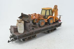 LGB G Gauge Bogie Flat Wagon with Digger Load - Weathered - Unboxed