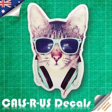 Retro 70s Disco DJ Pussy Cool CAT Grumpy Headphones Luggage Sticker Skateboard