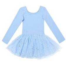 Leotard Tutu Skirt Ballet Dress Kids Girls Sequin Long Sleeve Gym Dance Costumes