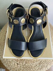Michael Kors Womens Reggie Mid Leather Open Toe Casual, Navy Admiral Size 6.5.