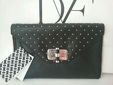 Diane von Furstenberg DVF Black Secret Agent Zip On Gold Stud Clutch Bag Gallery