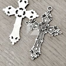 10pcs Pendants Charm Antique Tibetan Silver Craft Cross 56.5x37x1.5mm IW