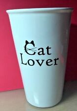 "Cat Lover Double Wall No Handle 5 1/2"" Tall Coffee Tea Cup Mug Black/White 12 oz"