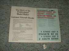 Letraset decals 1/72 1/48 M19 Italian Air Force code nos red white black  E128