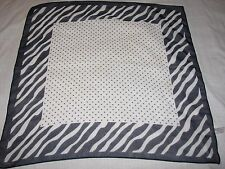 Feliciani faux silk polyester scarf Polka Dot zebra stipes Blue White square old