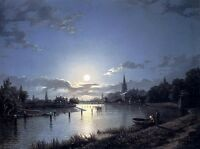 Huge Oil painting Henry Pether - Marlow On Thames river moon night landscape