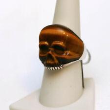 DAVID YURMAN NEW Mens Tiger Eye Carved Skull Ring Sterling Silver 8.5