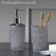 Vintage French Style Glass Soap Dispenser & Tumbler Set Bathroom Accessories