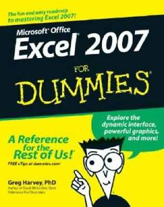 Excel 2007 For Dummies - Paperback By Harvey, Greg - GOOD