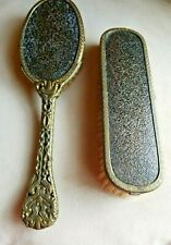 Vintage Hair Brush & Clothes Brush Brass & Wood