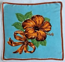 Vintage - Handkerchief Hankie - Burnt Orange Hibiscus on Aqua Blue - Ribbon Bow