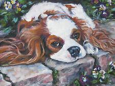 blenheim CAVALIER King Charles spaniel dog art PRINT of LAShepard painting 12x16
