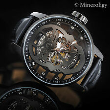 Invicta S1 Gunmetal SKULL Skeleton Dial Mechanical Black Leather 48mm Mens Watch