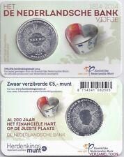 """NEDERLAND 5 EURO  2014: HET """"DE NEDERLANDCHE BANK VIJFJE"""" IN COINCARD"""