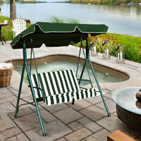 Loveseat Patio Canopy Steel Frame Swing Glider Hammock Cushioned Garden Green