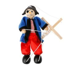 Pull String Puppet Pirate Wooden Marionette Joint Activity Doll Vintage Toy