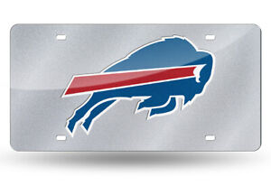 Buffalo Bills Silver Glitter Look 12x6 LASER License Plate Tag