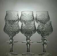 "ANTIQUE LEAD CRYSTAL CUT GLASS HOCK WINE GLASSES SET OF 6 - 7"" TALL"