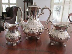 Quality Antique Brittania Metal Coffee Set Coffee Pot Sugar and Creamer