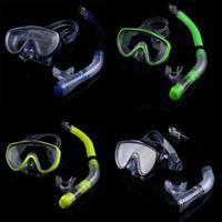 Diving Tempered Glass Snorkel Googles Set Full Dry Breathing Tube Snorkeling