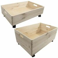 Extra Large Wooden Pine Crate Open Storage Box on Wheels Unpainted Chest Trunk