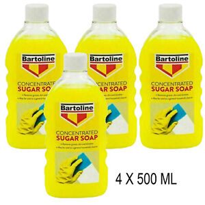 4 X 500 ML Bartoline Concentrated Sugar Soap Removes Grease,Dirt And Nicotine