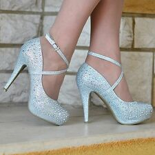 LADIES SPARKLY GLITTER DIAMANTE DETAIL HIGH HEEL EVENING PARTY SHOES SIZES 3-8