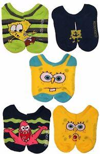 Boys Nickelodeon Spongebob Squarepants 5pk No-show Socks Patrick Star Starfish