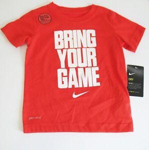 Nike Boys Bring Your Game Short Sleeve T Shirt Habanero Red Sz 6 - NWT