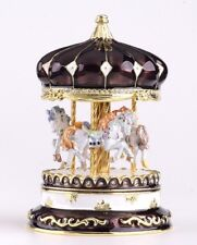 Brown Egg Horse Carousel Trinket Box by Keren Kopal music box & crystal