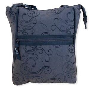 Thirty-One Hampton Organizing Shoulder Bag Crossbody Dark Gray & Black Swirl