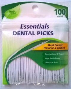 100x DenTek Dental Picks Dual Ended Flexible Textured Bristled Fresh Mint
