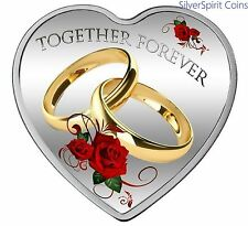 2017 TOGETHER FOREVER Heart Shaped Coloured Silver Proof Coin
