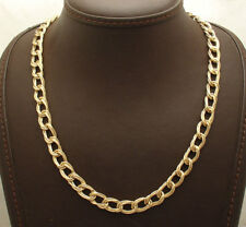 Interlocked Triple Curb Cuban Link Chain Necklace Real 14K Yellow Gold