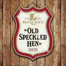Morland Old Speckled hen Beer Advertising Pub Metal Pump Badge Shield Steel Sign