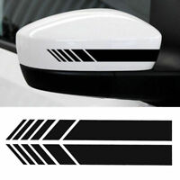 2Pcs Universal Car Rear view Mirror Sticker Racing Reflective Decal Emblem Black
