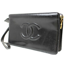 CHANEL CC Matelasse Quilted Clutch Bag Black Enamel Leather Vintage Auth #8323 M