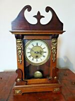 Antique 19th Century Carved Oak Mantel Clock with Brass Decals & Finials (Time)