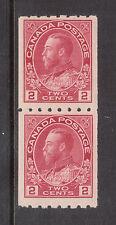 Canada #124 NH Mint Coil Pair