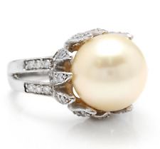 Splendid Natural South Sea Pearl and Diamond 14K Solid White Gold Ring