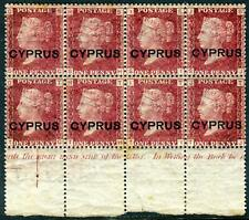CYPRUS-1880 1d Red Plate 217.  A fine mint marginal block with Inscription Sg 2