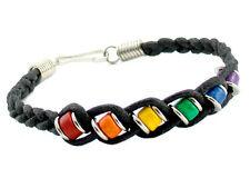 Pride Shack - Black Woven Bead Rainbow Bracelet Wrist LGBT Gay Lesbian Jewelry