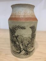 Vintage Art Pottery  Stone Ware Vase Jug Carved Tree Forest Scene Signed
