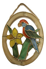 Blowfish Stained Glass Oval Bird Plaque Parrot Suncatcher, 8.25 inches
