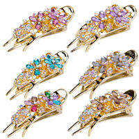 Fashion Rhinestone Crystal Hair Clip Women Flower Jewelry Tiara Barrette Hairpin