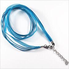 Collana 4 File Cotton cera e Organza con catena daestensione – Blu