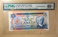 Canada BC-48b 1972 $5 Lawson | Bouey S/N SV - PMG 40 EPQ - Cut Off Size Error