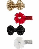 New Carter's 4 Pack Hair Clips Hair Accessory NWT Red Gold Silver Clip Barette