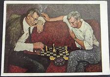 JUDAICA RUSSIA NICE POSTCARD 2 SMOKING MEN PLAY CHESS JEWISH PAINTER WEINSTEIN ?
